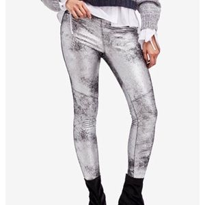 Free People vegan suede metallic legging